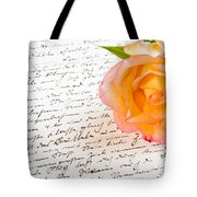 Red Yellow Rose Over A Hand Written Love Letter Tote Bag