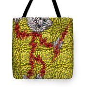 Reddy Kilowatt Bottle Cap Mosaic Tote Bag by Paul Van Scott