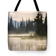 Reflection Lake With Mist, Mount Tote Bag