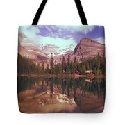 Reflection Of Cabins And Mountains In Tote Bag