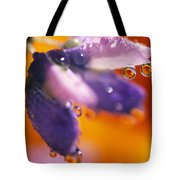 Reflection Of Flower In Dew Drops Tote Bag