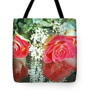 Reflection Red Roses Tote Bag