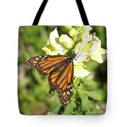 Monarch Butterfly Feeding On A Cluster Of Yellow Flowers Tote Bag