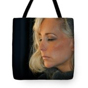 Relaxed Blond Woman Tote Bag