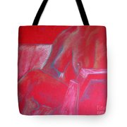 Relaxing In Red Tote Bag