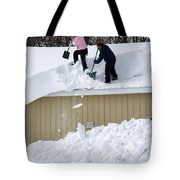 Removing Snow From A Building Tote Bag