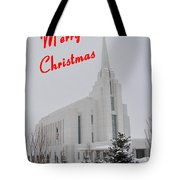 Rexburg Temple In Snow For Chritmas Tote Bag