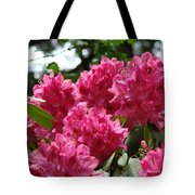 Rhododendrons Garden Art Prints Pink Rhodies Floral Tote Bag by Baslee Troutman