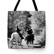 Riding Soldiers B And W Tote Bag