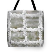 Rime Covered Fence Tote Bag by Christine Till