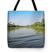 Ripples On The Water Of The Saltwater Lagoon In Alleppey In Kerala In India Tote Bag