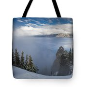 Rising Mists From Crater Lake Panorama Tote Bag
