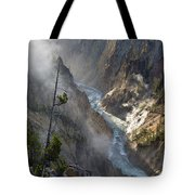 Rising Mists From Grand Canyon Of The Yellowstone Tote Bag