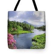 River Leading To A Mountain Tote Bag