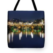 River Liffey At Night, Oconnell Street Tote Bag