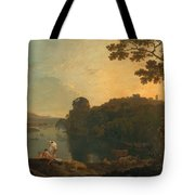 River Scene- Bathers And Cattle Tote Bag