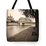 River Seine And Cathedral Notre Dame Tote Bag