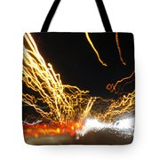 Road Cars And Street Lights Tote Bag