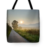 Road In Sunrise Tote Bag