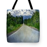 Road Leading To Snow Covered Mount Shasta Tote Bag