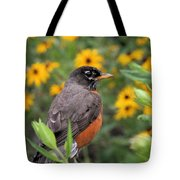 Robin Among Flowers Tote Bag