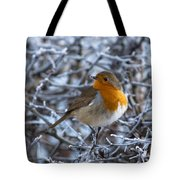 Robin On A Frosty Morning Tote Bag