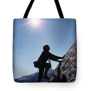 Rock Climber On Polly Dome Above Lake Tote Bag