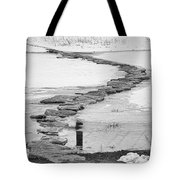 Rock Lake Crossing In Black And White  Tote Bag