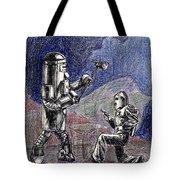 Rocket Man And Robot Tote Bag