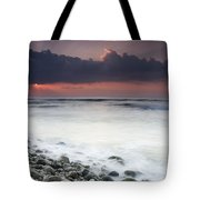 Rocky Beach At Sunrise Hawf Protected Tote Bag by Sebastian Kennerknecht