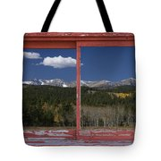 Rocky Mountain Autumn Red Rustic Picture Window Frame Photos Art Tote Bag
