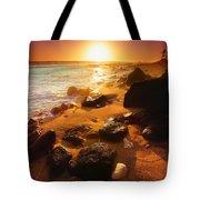 Rocky Shoreline In Hawaii Tote Bag