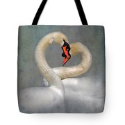 Romantic Image Of Courting Swans Tote Bag