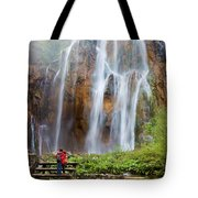Romantic Scenery By The Waterfall Tote Bag