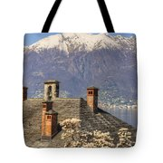 Roof With Chimney And Snow-capped Mountain Tote Bag