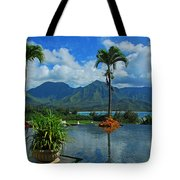 Rooftop Fountain In Paradise Tote Bag