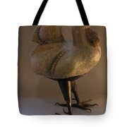 Rooster 2 Bronze Legs And Ceramics Body Sculpture Tote Bag