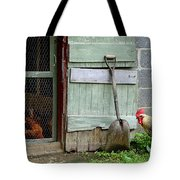 Rooster And Hens Tote Bag
