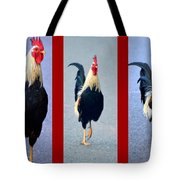 Rooster Triptych Tote Bag