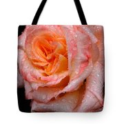 Rose And Raindrops On Black Tote Bag