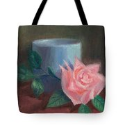 Rose With Blue Cup Tote Bag