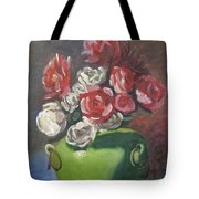 Roses And Green Vase Tote Bag
