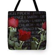Roses Glow Against The Black Granite Tote Bag