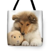 Rough Collie Pup And Yellow Guinea Pig Tote Bag