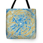 Round And Round Blue And Gold Tote Bag