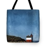 Round Island Lighthouse In Michigan Tote Bag