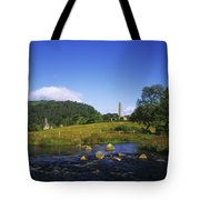 Round Tower And River In The Forest Tote Bag