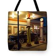 Route 66 Garage At Night Tote Bag