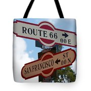 Route 66 Street Sign Tote Bag