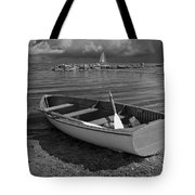 Row Boat On The Shore Of Lake Ontario In Toronto Tote Bag